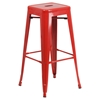 3 Pieces Square Metal Bar Set - Red, Backless Barstools - FLSH-CH-31330B-2-30SQ-RED-GG