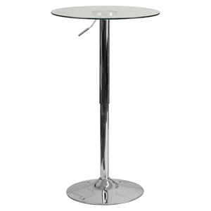 "23.5"" Round Adjustable Height Table - Clear Glass Top, Chrome Pedestal Base"
