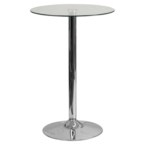 "23.5"" Round Glass Table - Clear, Chrome, Pedestal Base"