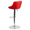 Adjustable Height Barstool - Bucket Seat, Red, Faux Leather - FLSH-CH-82028A-RED-GG