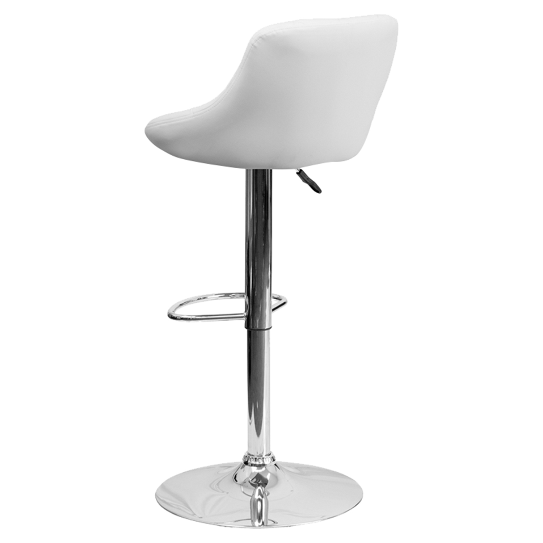 Adjustable Height Barstool Bucket Seat White Faux