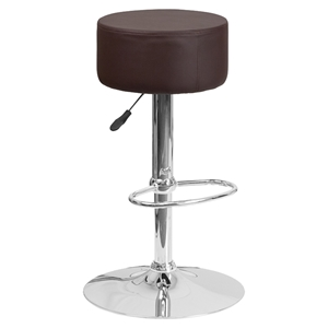 Adjustable Height Barstool - Backless, Faux Leather, Brown