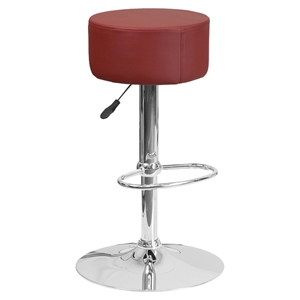 Adjustable Height Barstool - Backless, Faux Leather, Burgundy