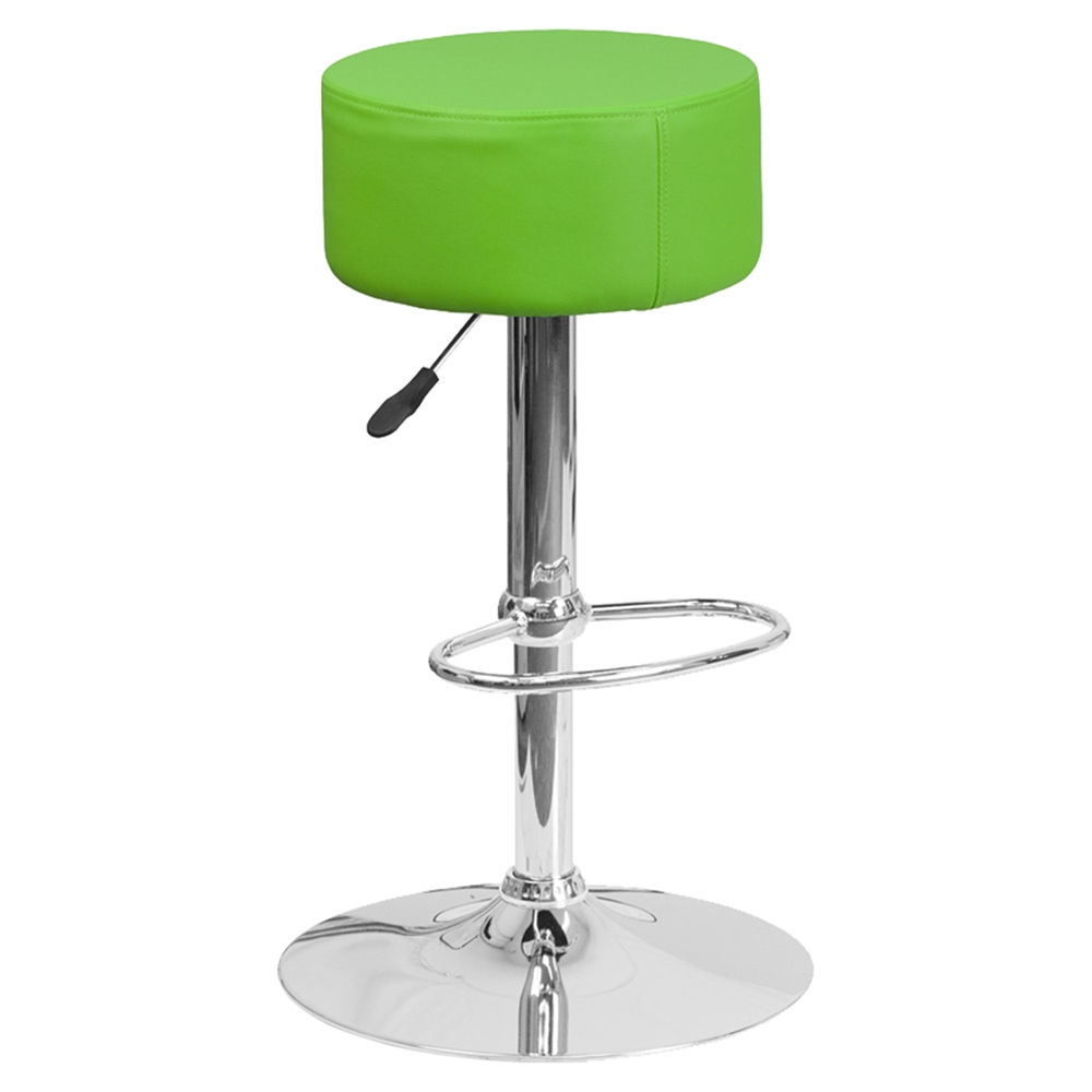 Adjustable Height Barstool Backless Faux Leather Green