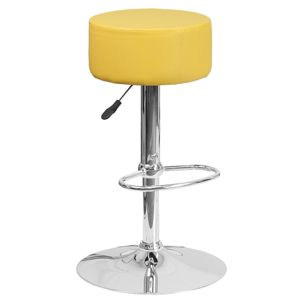 Adjustable Height Barstool Backless Faux Leather
