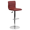 Adjustable Height Barstool - Faux Leather, Burgundy - FLSH-CH-92023-1-BURG-GG