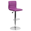 Adjustable Height Barstool - Faux Leather, Purple - FLSH-CH-92023-1-PUR-GG