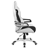 Faux Leather Executive Swivel Office Chair - High Back, Black and White - FLSH-CH-CX0713H01-GG