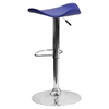 Backless Barstool - Adjustable Height, Faux Leather, Blue - FLSH-CH-TC3-1002-BL-GG