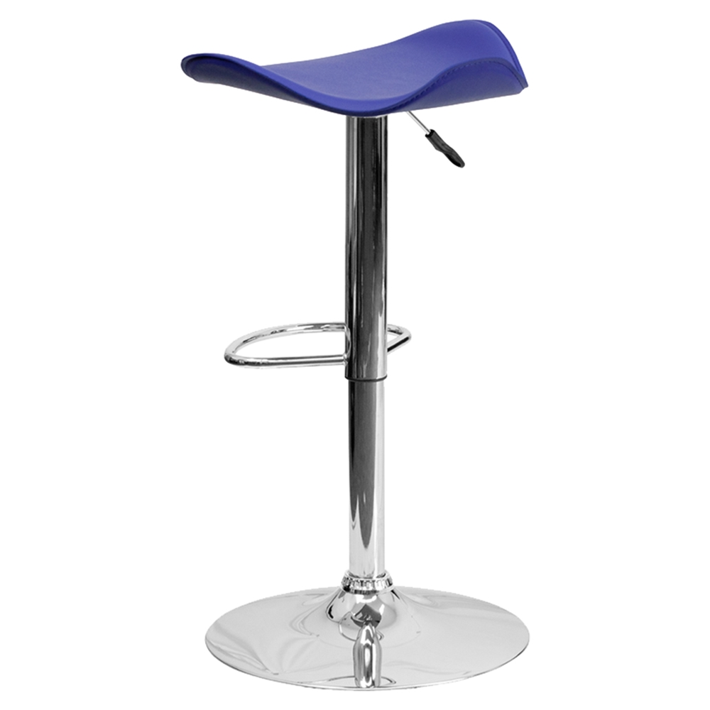 Backless Barstool Adjustable Height Faux Leather Blue