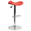 Backless Barstool - Adjustable Height, Faux Leather, Red - FLSH-CH-TC3-1002-RED-GG