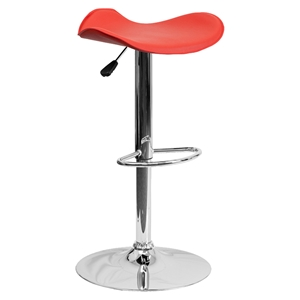 Backless Barstool - Adjustable Height, Faux Leather, Red