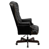 Leather Executive Swivel Office Chair - High Back, Button Tufted, Black - FLSH-CI-360-BK-GG
