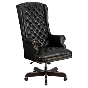 Leather Executive Swivel Office Chair - High Back, Button Tufted, Black