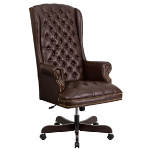 Leather Executive Swivel Office Chair - High Back, Button Tufted, Brown