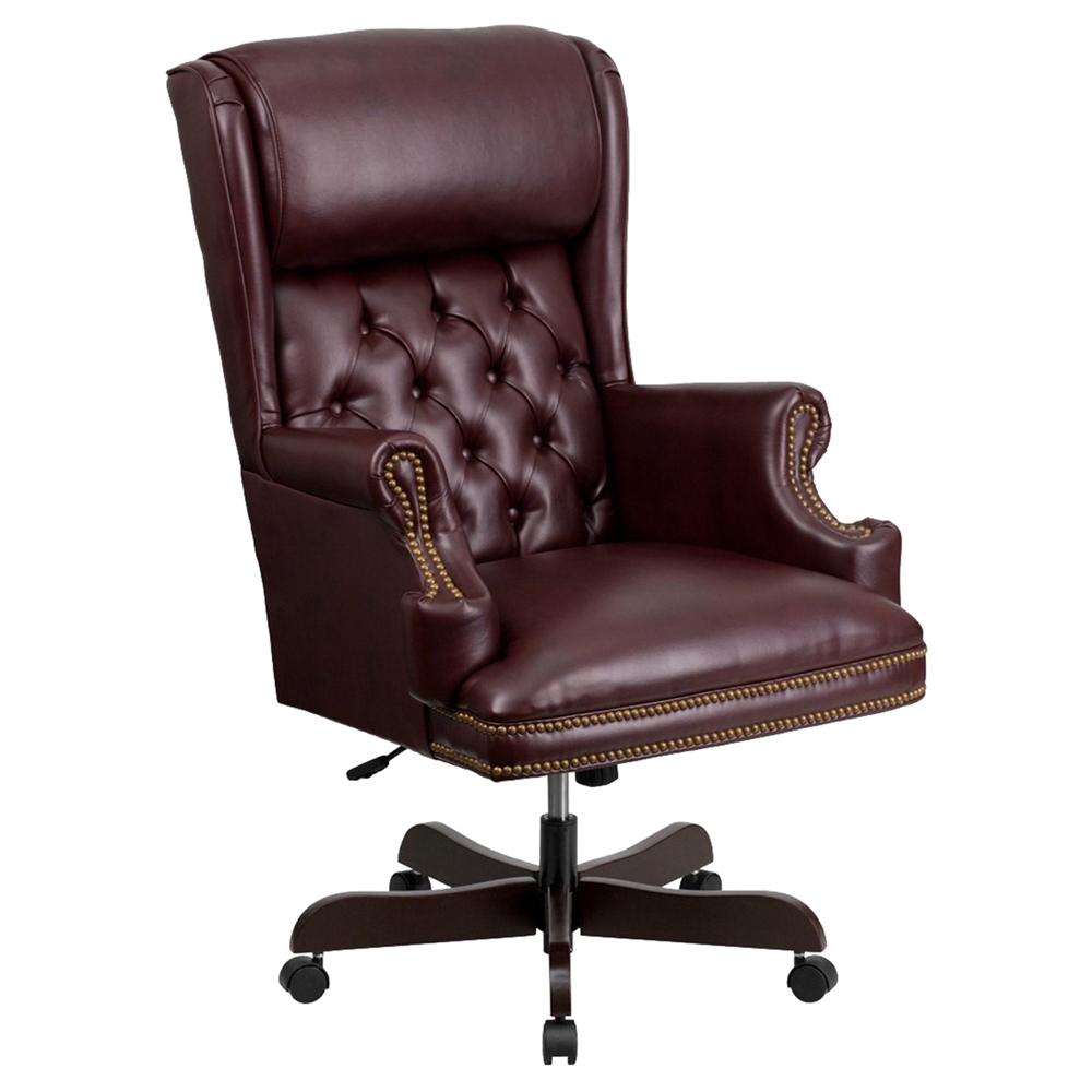 Swivel Office Chair High Back Nailhead Burgundy DCG Stores