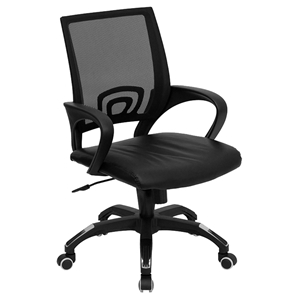 Swivel Task Chair - Mid Back, Black Leather Seat, Black Mesh Back