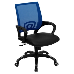 Swivel Task Chair - Mid Back, Black Leather Seat, Blue Mesh Back