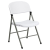 Hercules Series Plastic Folding Chair - Gray Frame, White