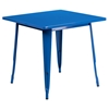 5 Pieces Square Metal Table Set - Stack Chairs, Blue - FLSH-ET-CT002-4-30-BL-GG