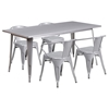 5 Pieces Rectangular Metal Table Set - Arm Chairs, Silver - FLSH-ET-CT005-4-70-SIL-GG
