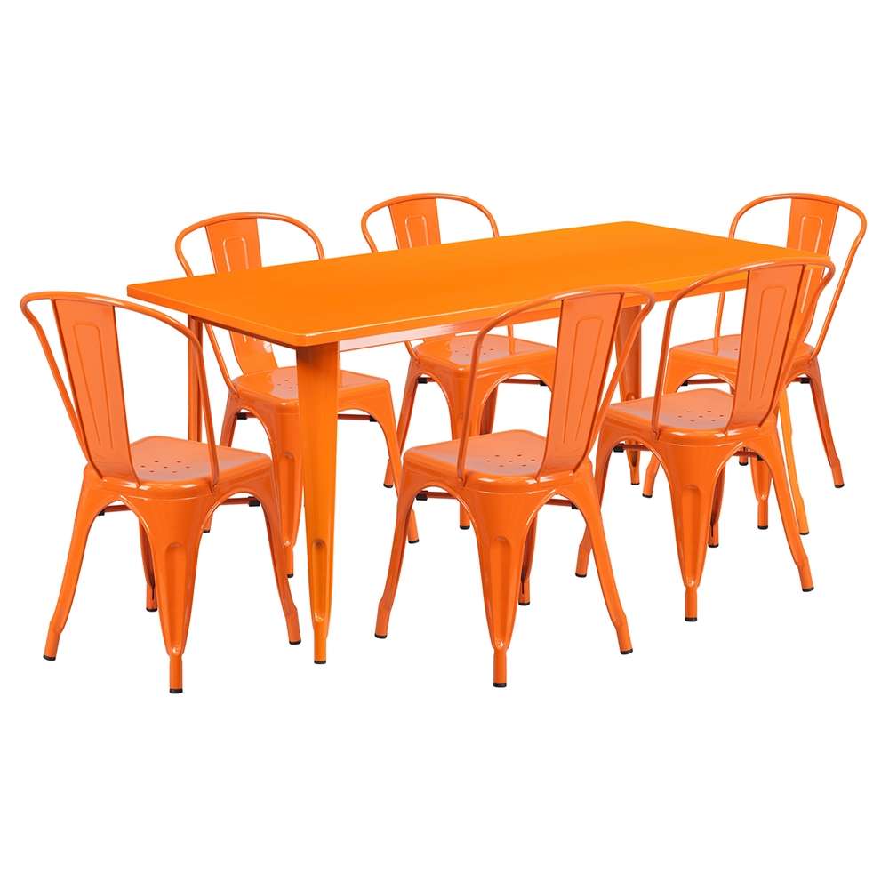7 Pieces Rectangular Metal Table Set Stack Chairs  : et ct005 6 30 or gg from www.dcgstores.com size 1000 x 1000 jpeg 297kB