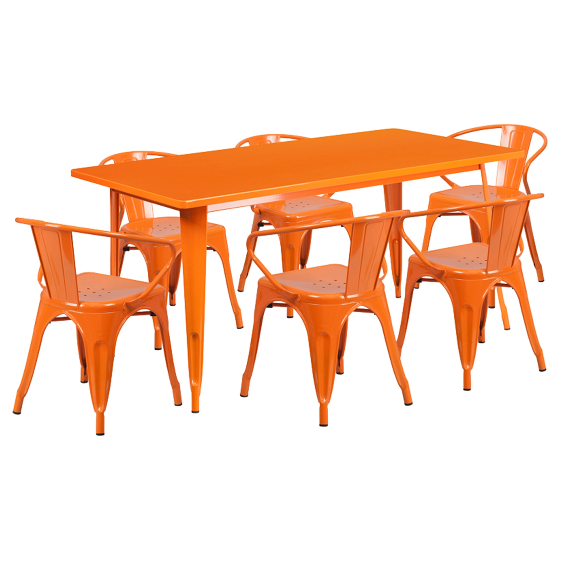 7 Pieces Rectangular Metal Table Set Arm Chairs Orange  : et ct005 6 70 or gg from www.dcgstores.com size 1000 x 1000 jpeg 259kB