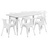 7 Pieces Rectangular Metal Table Set - Arm Chairs, White - FLSH-ET-CT005-6-70-WH-GG
