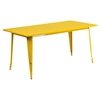 7 Pieces Rectangular Metal Table Set - Arm Chairs, Yellow - FLSH-ET-CT005-6-70-YL-GG