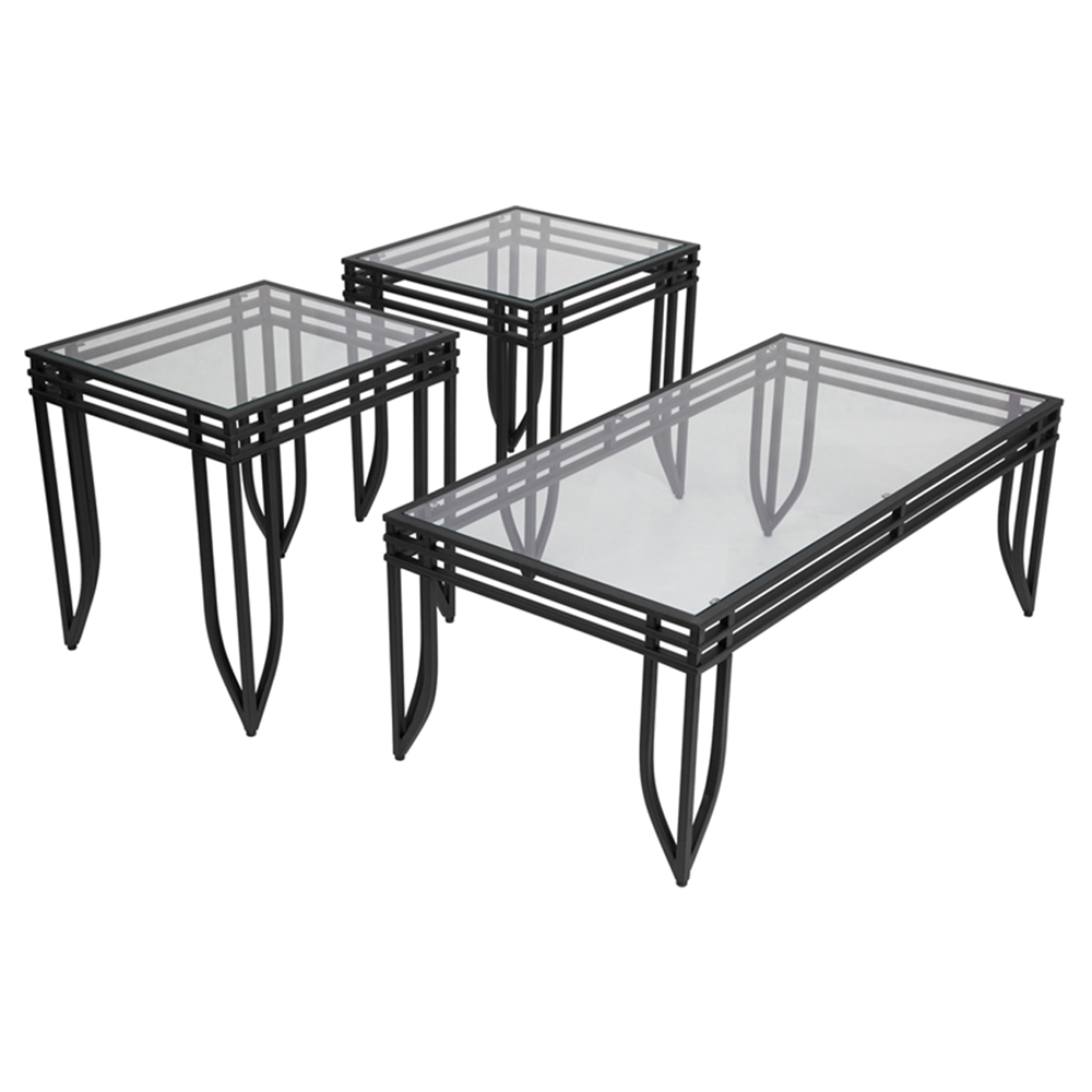 Exeter 3 pieces occasional table set black dcg stores for Table 52 botswana