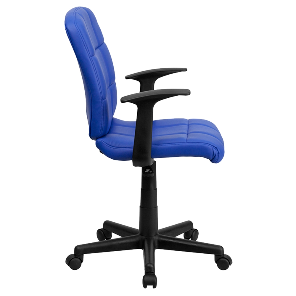 Quilted Faux Leather Task Chair Mid Back Swivel Nylon