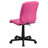 Quilted Faux Leather Task Chair - Mid Back, Swivel, Pink - FLSH-GO-1691-1-PINK-GG