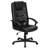 Executive Swivel Office Chair - High Back, Black, Leather - FLSH-GO-7102-GG
