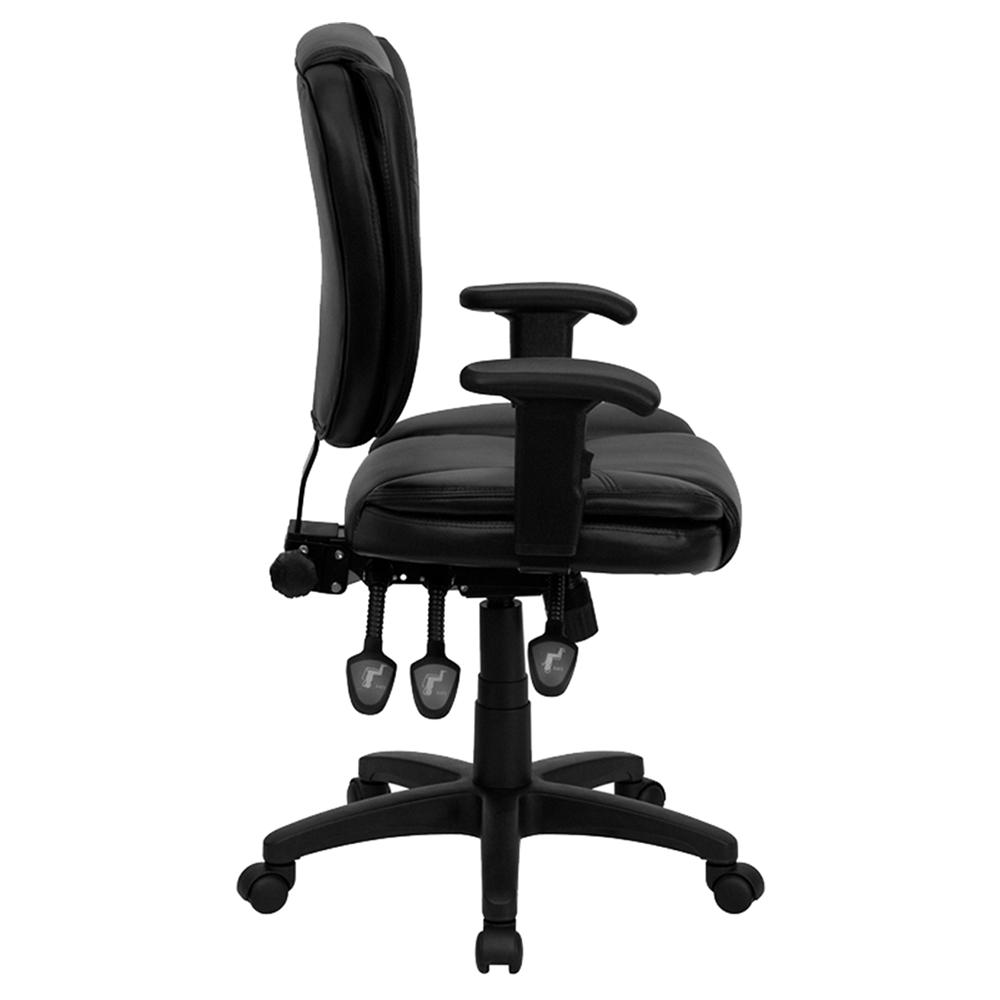 Ergonomic leather swivel task chair mid back multi functional black dcg stores - Ergo kids task chair ...