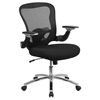 Executive Swivel Office Chair - Mid Back, Adjustable Arms, Black - FLSH-GO-WY-87-2-GG