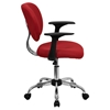 Mesh Swivel Task Chair - Mid Back, with Arms, Red - FLSH-H-2376-F-RED-ARMS-GG