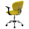 Mesh Swivel Task Chair - Mid Back, with Arms, Yellow - FLSH-H-2376-F-YEL-ARMS-GG
