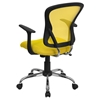Swivel Task Chair - Mid Back, Yellow Mesh - FLSH-H-8369F-YEL-GG