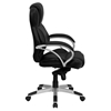 Executive Swivel Office Chair - Stitching, High Back, Black and Silver - FLSH-H-9626L-2-GG