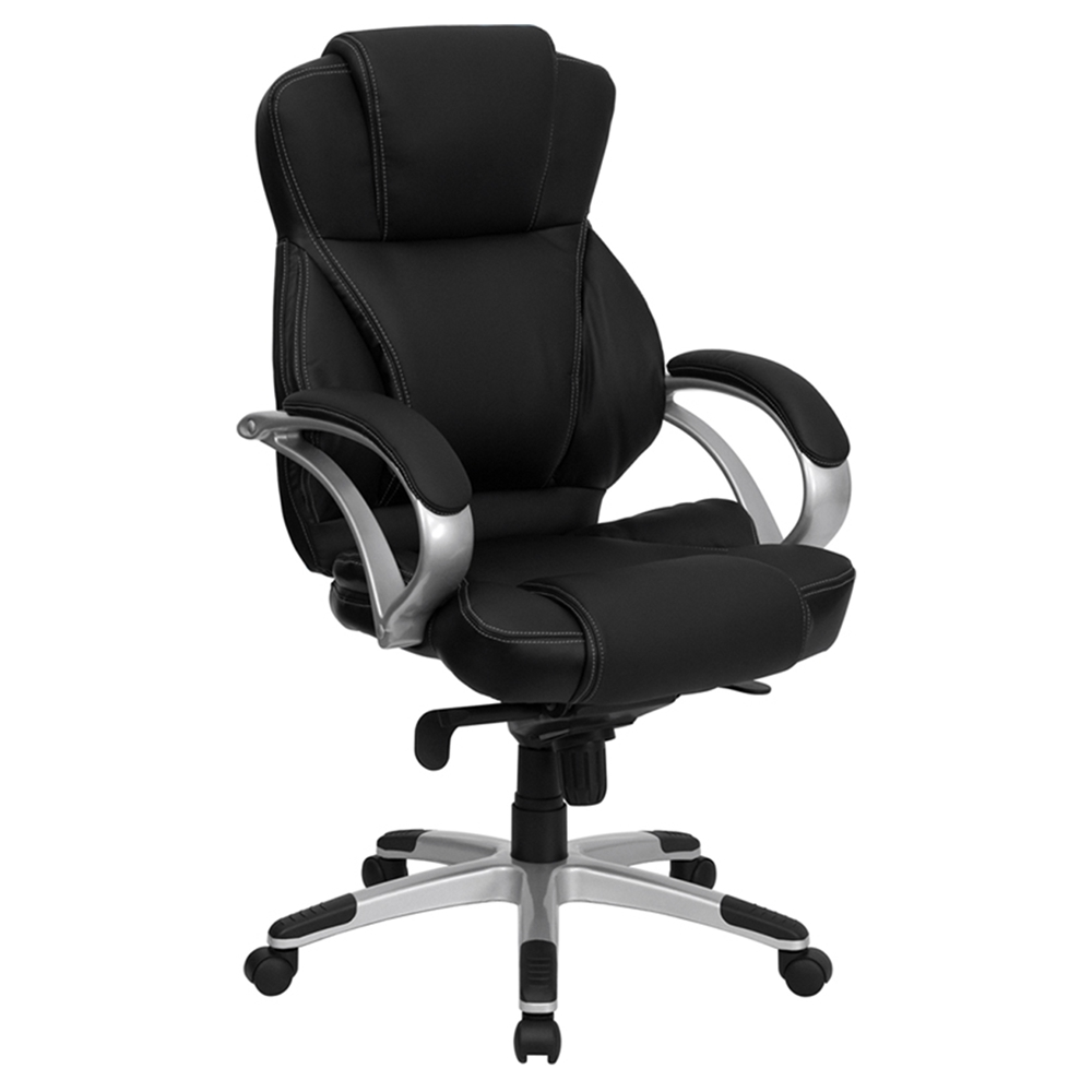 Office Chair Stitching High Back Black And Silver DCG Stores