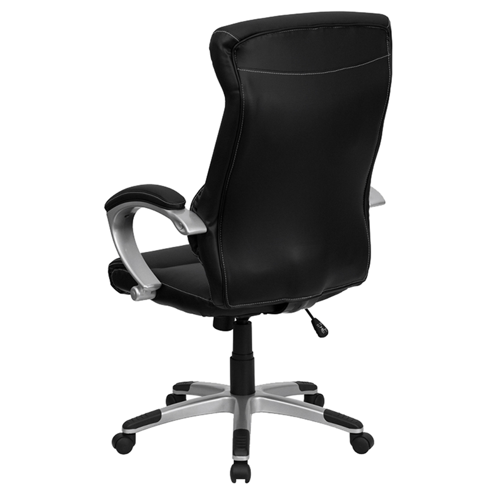 High Back Executive Office Chair Black Swivel Leather FLSH H