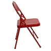Hercules Series Metal Folding Chair - Triple Braced, Double Hinged, Red - FLSH-HF3-MC-309AS-RED-GG
