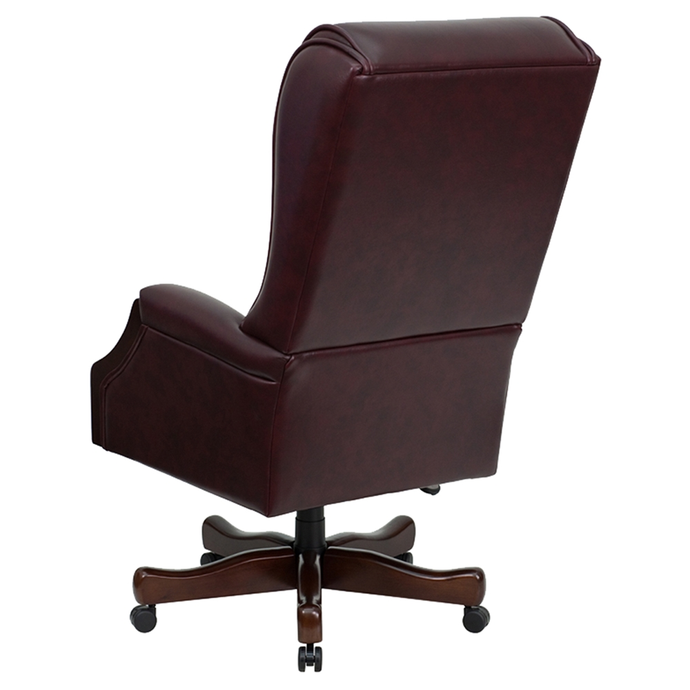 Leather Executive Swivel Office Chair Button Tufted