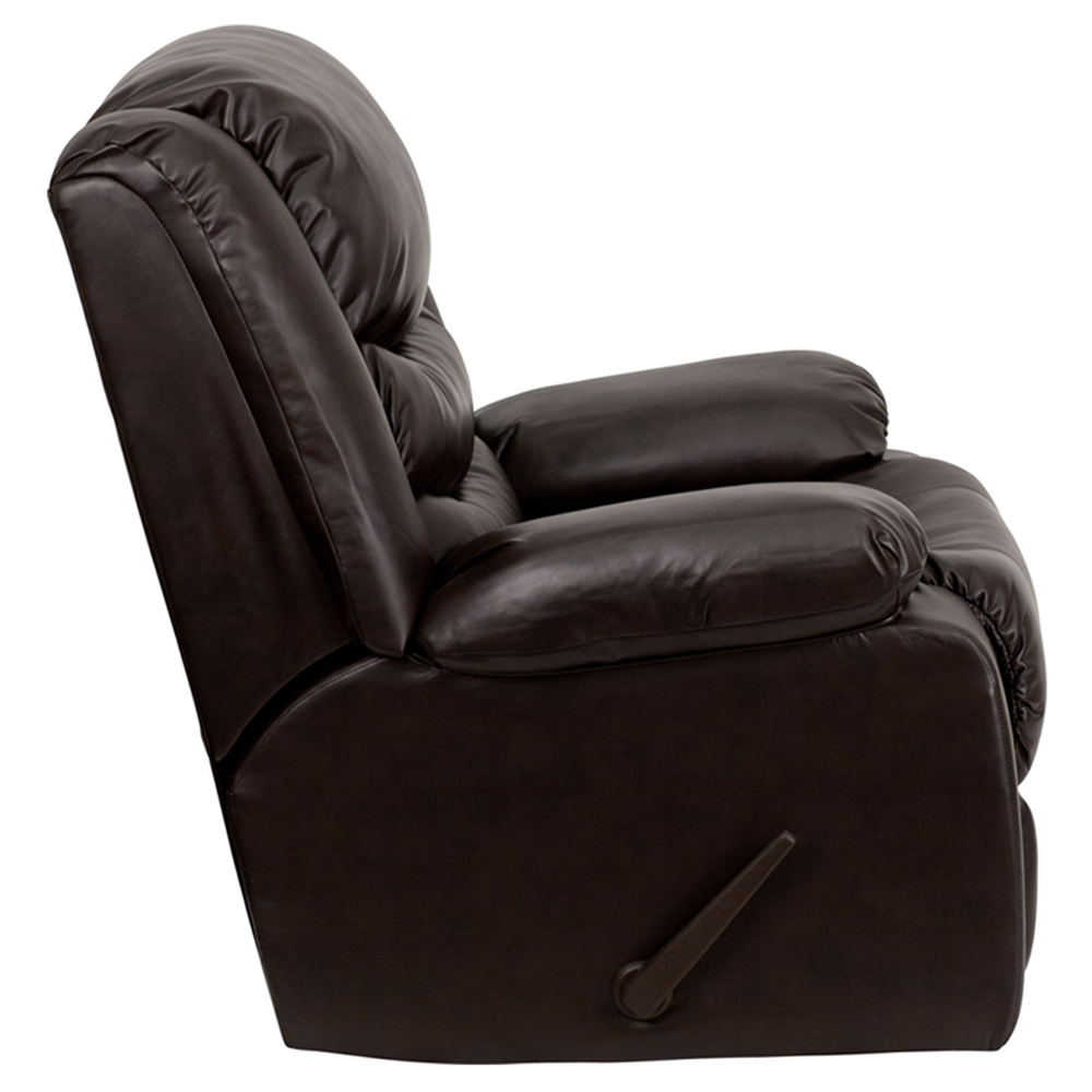 Plush Leather Recliner Lever Rocker Padded Arms Brown
