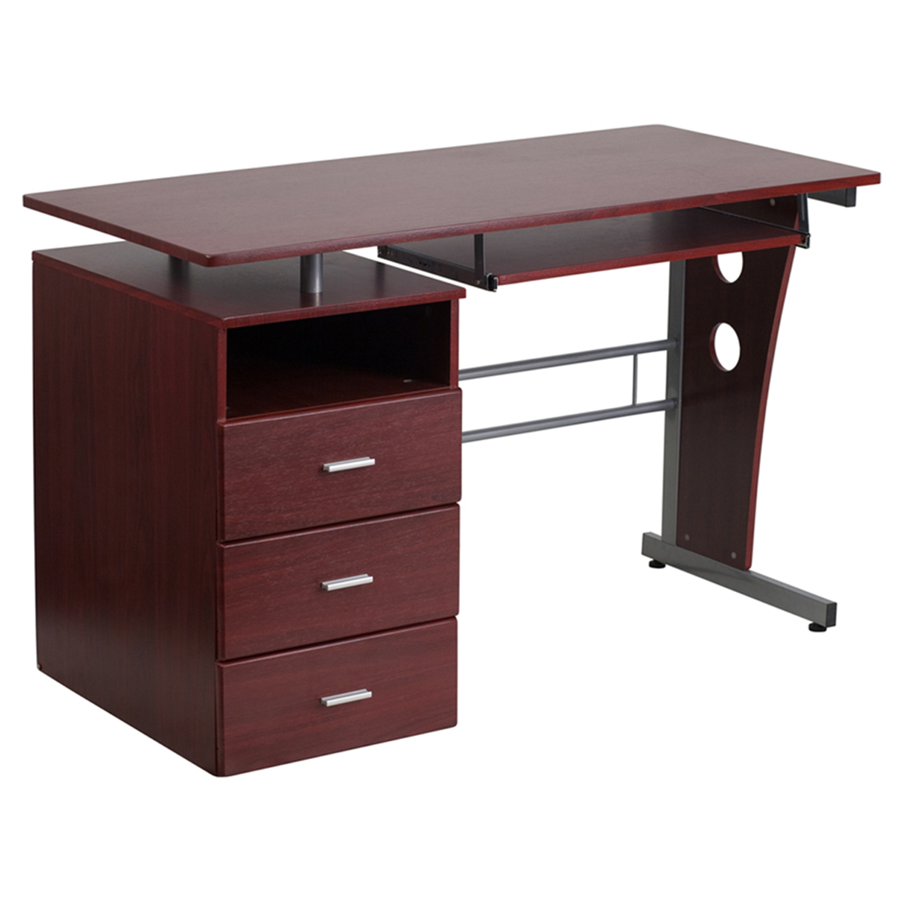 - Computer Desk - 3 Drawers, Pull-Out Keyboard Tray, Mahogany DCG