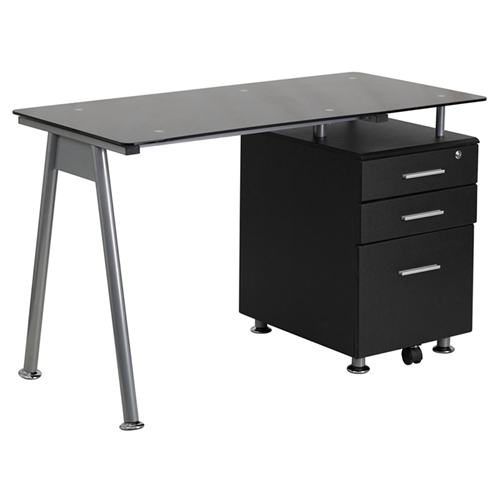 Computer Desk Glass Top 3 Drawers Black Dcg Stores