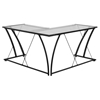Glass L-Shape Computer Desk - Clear Top, Black Frame - FLSH-NAN-WK-096-GG