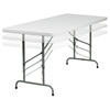 "30"" x 72"" Granite Plastic Folding Table - Height Adjustable, White - FLSH-RB-3072ADJ-GG"