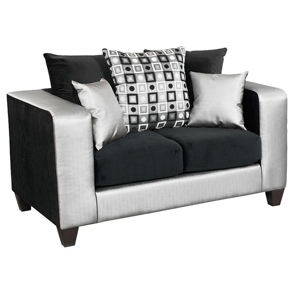 Riverstone Implosion Velvet Sofa Set Black And Silver