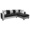 Riverstone Implosion Velvet Sectional - Black and Silver - FLSH-RS-4124-06SEC-GG
